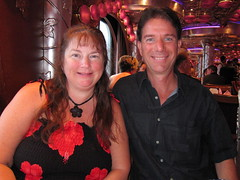 Red Night IMG_2408 (SunCat) Tags: travel cruise carnival vacation woman me smile canon friend girlfriend couple kevin all dress outdoor miracle bbw spouse powershot wife debbie sweetheart lover mate companion soulmate suncat braless 2011 fantasea barenecessities confidante so s95