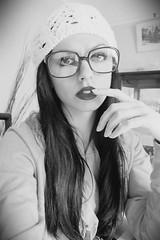 (MairanRuth) Tags: blackandwhite face hat fashion vintage photography glasses hand finger makeup jumper redlipstick lipstick brunette beanie gaffas mairanruth