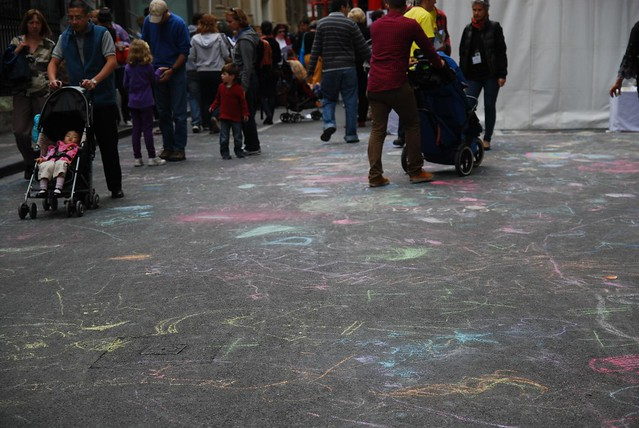 Kids chalk drawings on Little Lonsdale Street