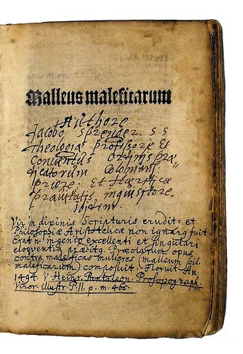 Title-page and manuscript note in Institoris, Henricus and Sprenger, Jacobus: Malleus maleficarum