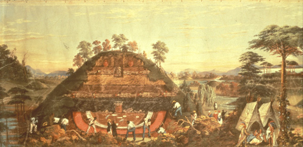 """Huge Mound and the manner of opening them"" image courtesy of the St. Louis Museum of Art; Panorama of the Monumental Grandeur of the Mississippi Valley, painting by John J. Egan."