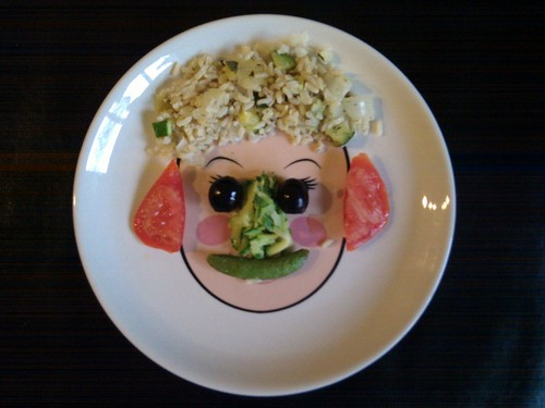 Food Face-Rice Hair, Black Olive Eyes, Tomato Ears