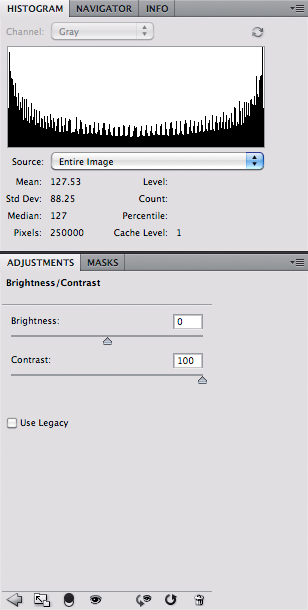 Grayscale with high contrast - histogram