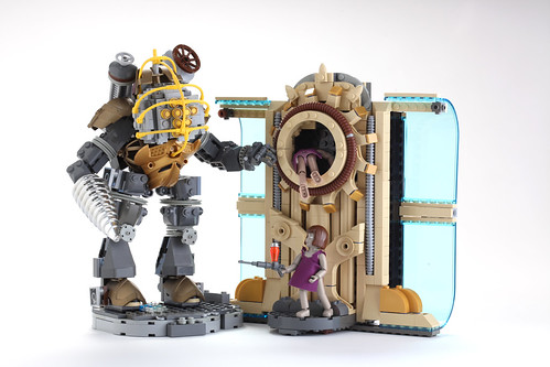 Custom minifig LEGO Big Daddy Little Sisters and Portal by V&A Steamworks