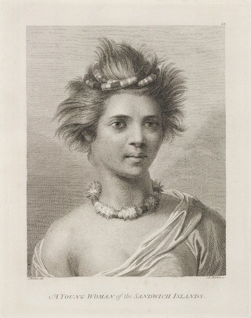 engraved portrait of a young lady from Hawaii - Capt Cook's voyage