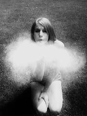 Blow Me Away (KyyDizzle) Tags: blackandwhite white black grass fun funny blow flour kneeling poof kyydizzle