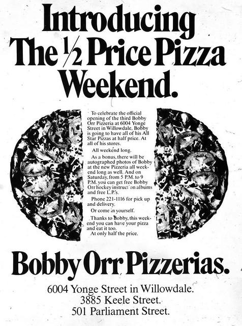 Vintage Ad #1,669: Bobby Orr Pizzerias