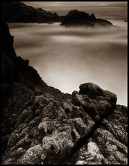 the cove (stormiticus) Tags: ocean longexposure sea blackandwhite bw seascape film water rocks bigsur shore 4x5 centralcoast ilford fp4 largeformat californiacoast schneider canham garapata pyrocathd 121mm largeformatmeetupgroup