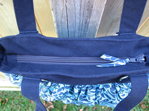 Zipper of gathered bag