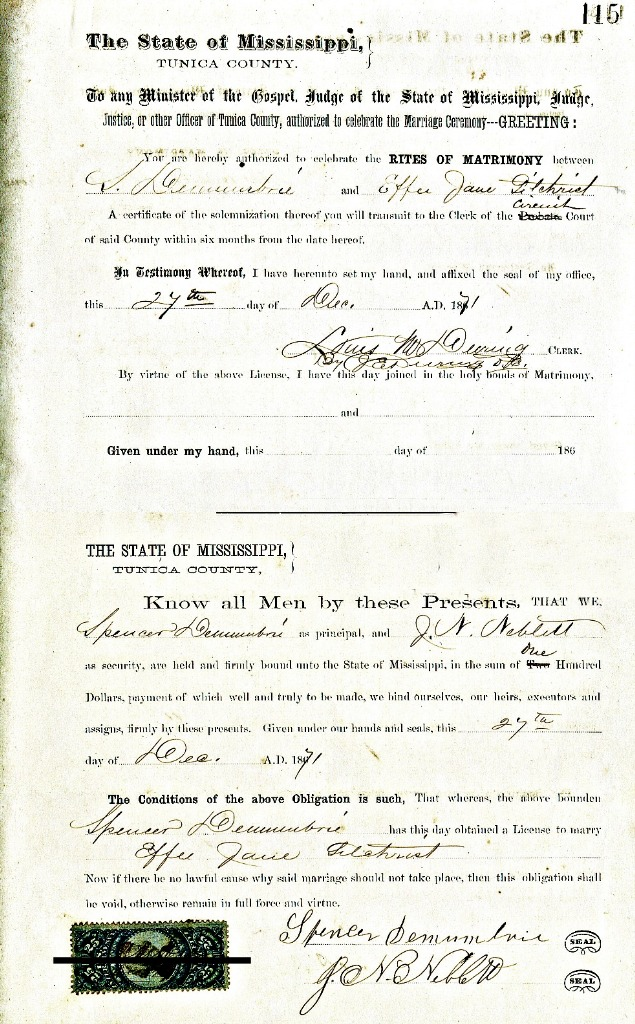 Effee Jane Gilchrist and (John) Spencer DeMumbrie Marriage Record