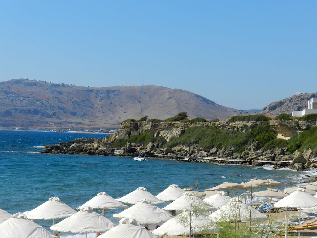 View from Plakia Beach in Pefkos, Greece