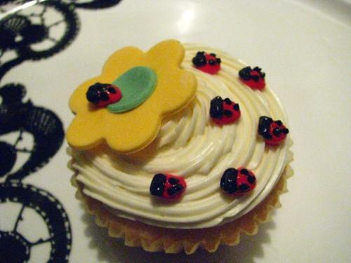Ladybug and Flower Cupcake