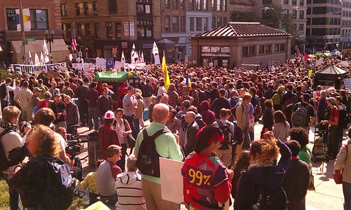 Occupy Boston Demonstrators Rally at Park St.10/15/2011