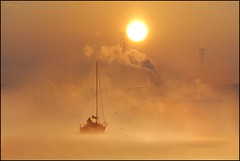 The Golden Voyage (adrians_art) Tags: mist fog sunrise boats silhouettes yachts riverthames