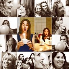 happy birthday Sally!! (annitaCo) Tags: madrid portrait bw cake collage fun happy retrato bn mojito happybirthday lengua chicas tiramisu vela globos cumpleaos tarta divertido cuchara sonrisas annitaco