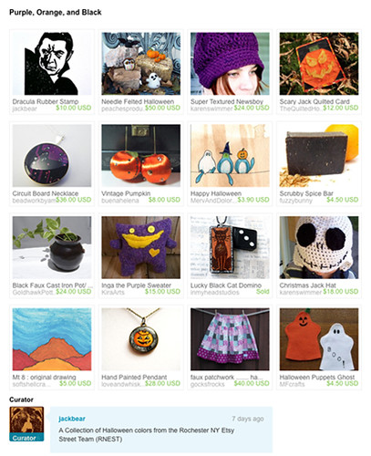 """Purple, Orange, and Black"" Etsy Treasury by Jackbear: RNEST"