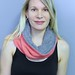 Janna with Coral and Grey Cowl Scarf ($38)