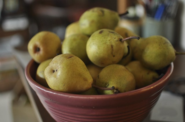 pears in my great-grandmother's bowl