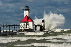 """Wicked Wind""  St. Joseph Lighthouse, St. Joseph , Michigan (Michigan Nut) Tags: sky usa lighthouse lake storm water clouds geotagged photography midwest waves wind michigan gale lakemichigan johnmccormick stjosephlighthouse"
