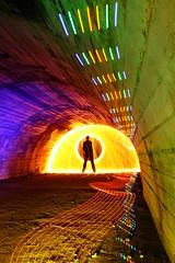 Culvert with colour (- Hob -) Tags: longexposure lightpainting underground tunnel led nophotoshop culvert airraidshelter inthetunnel singleexposure sooc lightjunkies woolspin 何後処理ん 无后处理