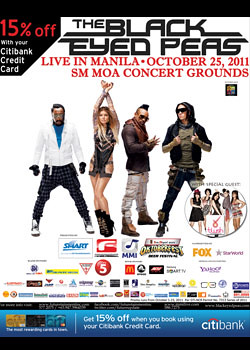 Black Eyed Peas LIVE in Manila concert - Get discounts using your Citibank CC