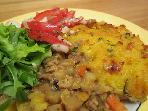 Creamy Corn-Crusted Tempeh Pot Pie; Tomato Salad with Sweet Crisp Onions