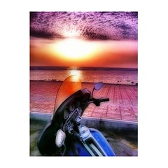 Ultra Sunset (Pearl Diver1) Tags: ocean blue sunset red sea beach water colors asia redsea harleydavidson motorcycle jeddah saudiarabia