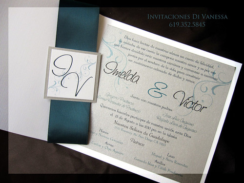 11Teal and Silver wedding invitation