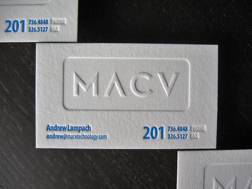 MACV Letterpress Business Cards