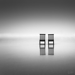 2 of Us (.Rohan) Tags: blackandwhite mist reflection beach fog square chairs cork minimal redstrand rosscarberry nd110