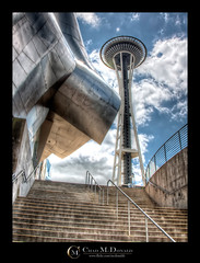 EMP - Space Needle (Chad McDonald) Tags: seattle sky building skyline architecture clouds stairs washington flickr downtown queenanne mercer experience wa emp hdr musicproject