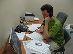 Cory Lowery making GOTV phone calls at Berea KFTC office Nov 3 2011