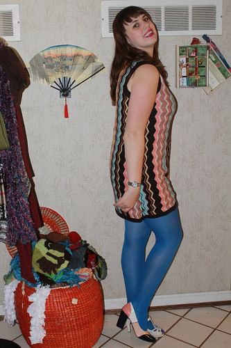 Outfit - Missoni for Target dress, blue tights, mismatched shoes