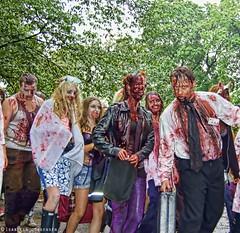 DSC_0133 (isabella.jorgensen) Tags: bw fun for costume blood makeup creepy slayer drama larp theather zombieclown topazlab hooor stockholmzombiewalk2011