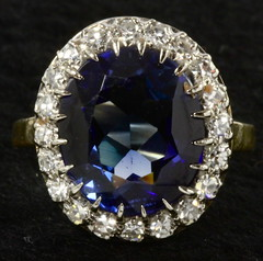 4012. 18KT Diamond and Synthetic Sapphire Ring