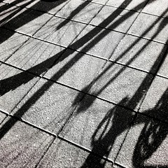 2 bikes meet... (lucymagoo_images) Tags: shadow urban bw abstract monochrome lines bike bicycle wheel mobile square shadows squares curves spokes samsung bicicleta sidewalk round bici curved android magichour sght959 magichourapp lucymagoo lucymagooimages