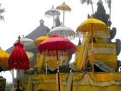 Misty morning at Pura Lempuyang, Bali (Sekitar) Tags: red bali yellow misty umbrella indonesia temple hindu dharma pura payung mornig karangasem lempuyang earthasia