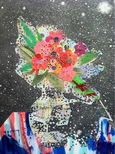 Collage de Steven Riddle représentant un pot de fleur cosmique (?)