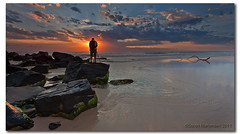 The Master at Work. (danishpm) Tags: ocean orange seascape clouds sunrise canon sand rocks photographer australia wideangle nsw aussie aus 1020mm manfrotto sigmalens cabarita eos450d 450d sorenmartensen tweedarea hitechgradfilters 09ndreversegradfilter
