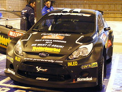 Giuseppi Dettori's Fiesta S2000 -in the Ford service shed - Shakedown  - Rally Wales GB 2011 (74Mex) Tags: ford wales fiesta rally shed wells wrc gb service s2000 shakedown dettori 2011 giuseppi builth