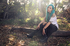 Talya Poxleitner (Dar.shelle) Tags: blue sun fashion forest canon hair log woods stevens 7d flare whimsical talya darshelle