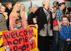 Familiies of the 104 Battalion members welcome them home in Dublin Airport