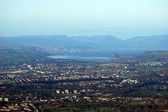 View over Glasgow to Dumbarton (Vic Sharp) Tags: above city uk winter urban buildings scotland clyde glasgow air flight scottish aerial helicopter dumbarton strathclyde centralbelt lanarkshire