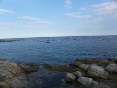 Barcas en Calella (mahatsorri) Tags: costa azul de mar barca girona nubes verano catalunya brava junio blancas roca cataluña mediterráneo gerona piedra calella palafrugell