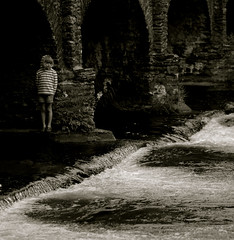 Because You're Young (Timoleon Vieta II) Tags: life lighting uk bridge shadow portrait england bw black color colour reflection love water girl sepia architecture youth photoshop canon river dark hearts lost flow sadness photo waterfall twins key stream europa solitude alone silent child heart bokeh stones stripes tide low somerset 1993 devon memory innocence ambient grotto moors lowkey loved existence weir watersmeet exmoor lornadoone dissolution blackwhitephotos timoleon