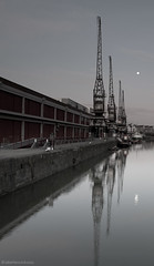 Three Cranes and the Moon (Jake Hancock Photography) Tags: sky moon seascape reflection water docks sunrise bristol landscape boats harbour cranes mshed canon5dmk2
