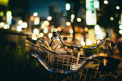 Bokehcycle (skidu) Tags: bicycle japan night 50mm bokeh f14 osaka 550d