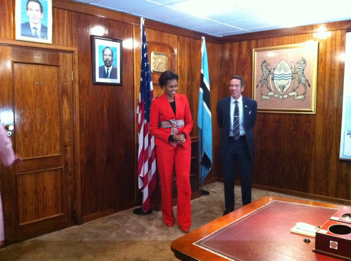 Mrs. Obama and President Ian Khama of Botswana