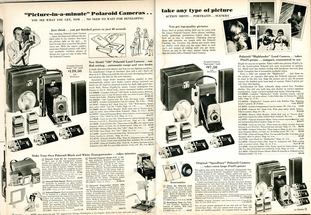 1958 Sears: Polaroid 150 Land Camera, Highlander, Speedliner
