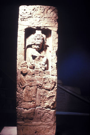 Stela 14 in the Meso-American gallery at the Penn Museum. Penn Museum image #160510.